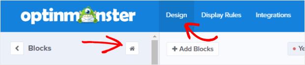 OptinMonster design blocls add block