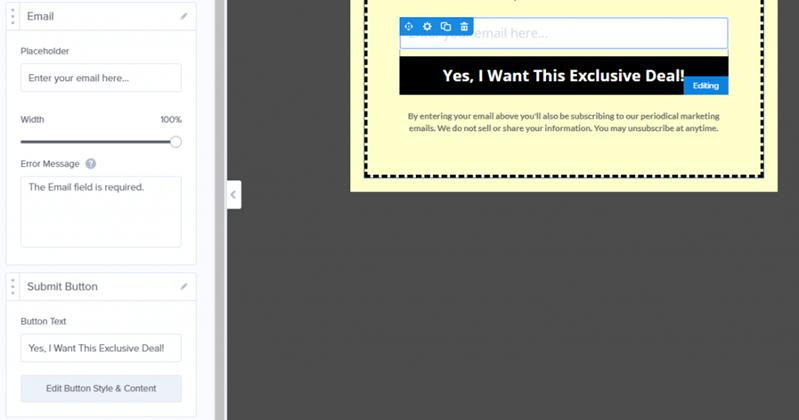 OptinMonster edit email