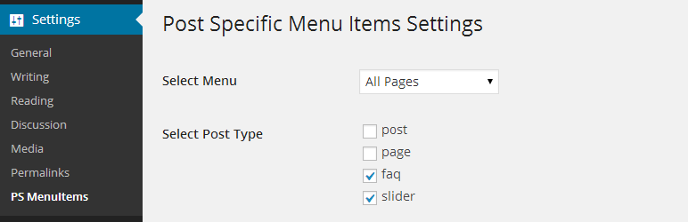 Page Specific Menu Item Setting