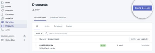 Shopify dashboard create discount