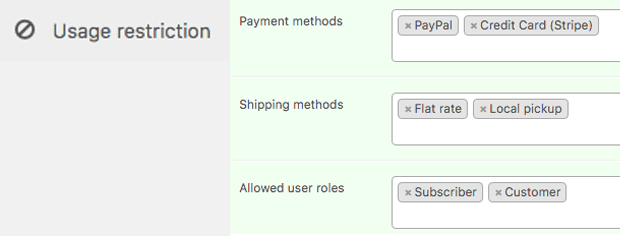 Usage Restrictions In Advance Coupon Setting