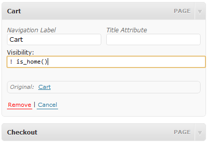 Visibility Control Setting