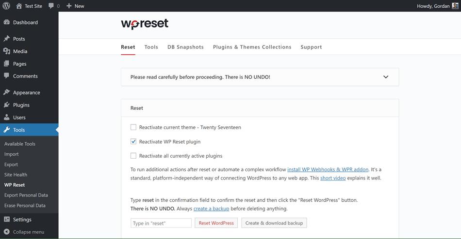 WP Reset - Main Reset Page