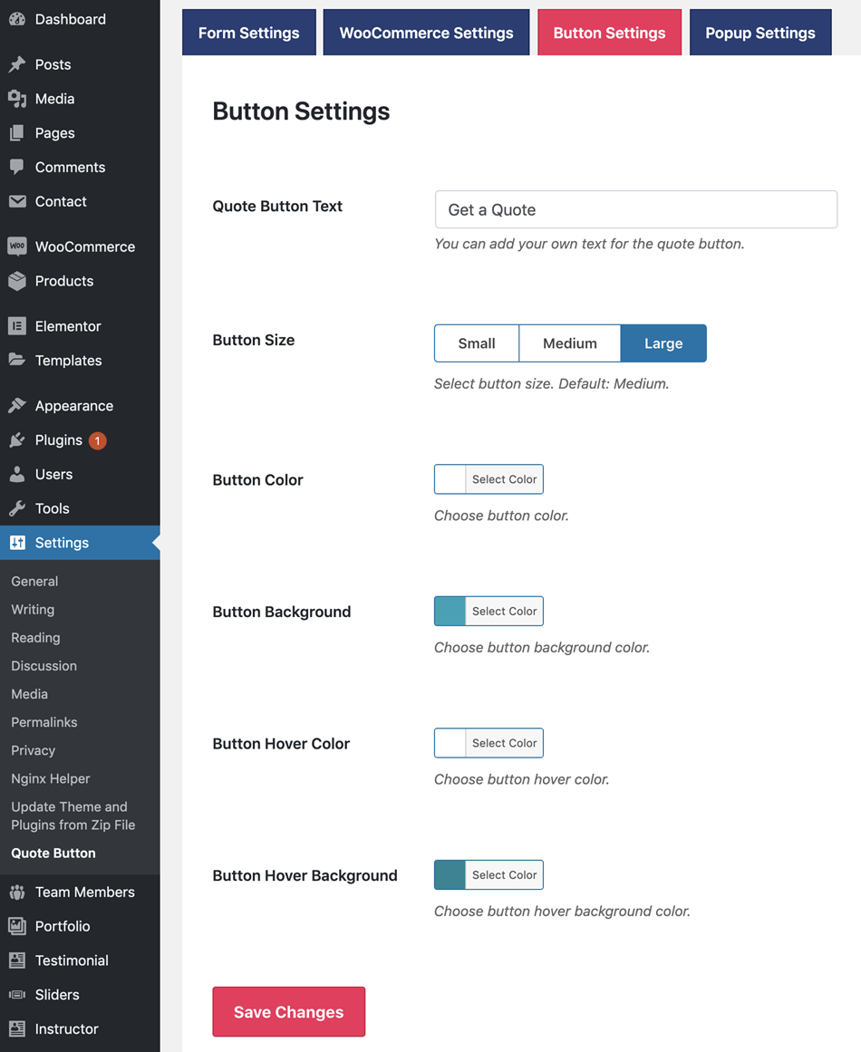 Woocommerce Get a Quote Button Setting