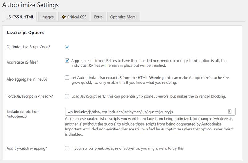 autoptimize settings JS CSS and HTML JavaScript Options
