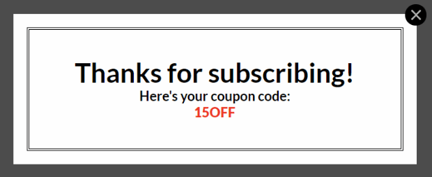 coupon success view thanks for subscribing