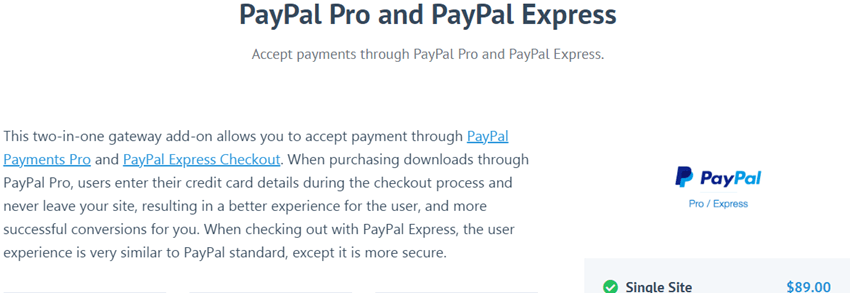 easydigitaldownloads PayPal Pro and PayPal Express plugin