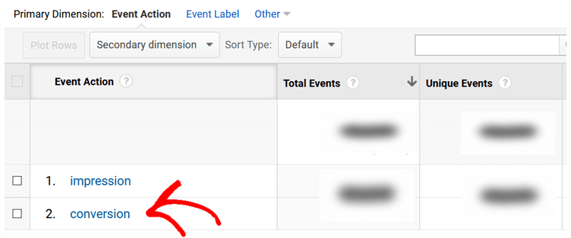 event action form track conversion impression or conversion