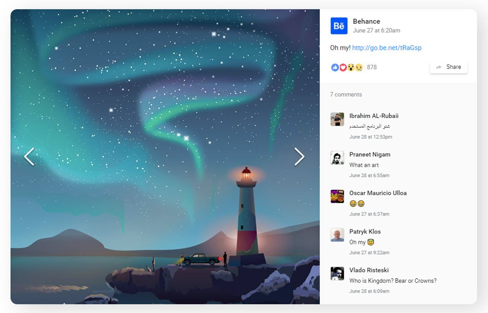 Facebook feed Popup screenshot