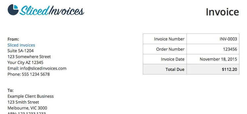 invoice Screenshot of The Company