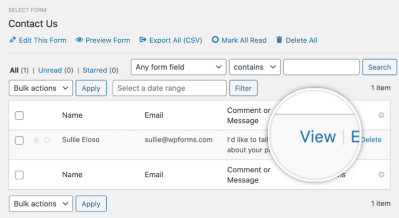 monsterinsight select form click on view button