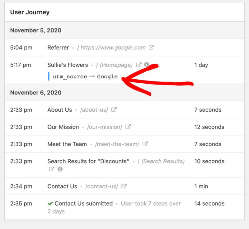 monsterinsights track user journey