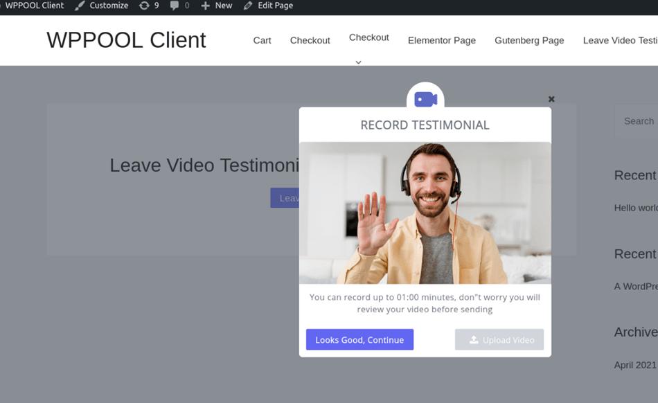 record client testimonial