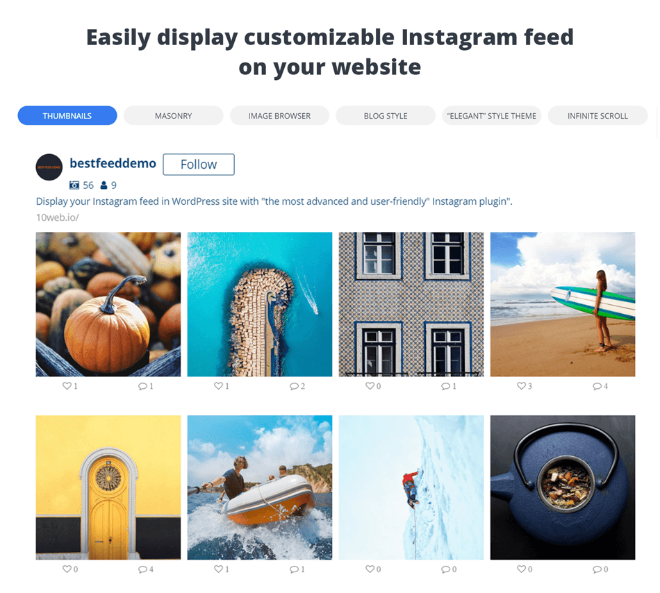 10 web social photo feed for instagram thumbnail layout