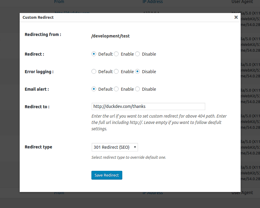 404 to 301 redirect log and notify 404 errors settings