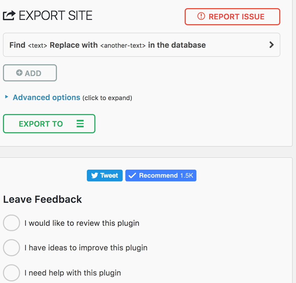 ALL in one WP Migration wordpress plugin mobile export page