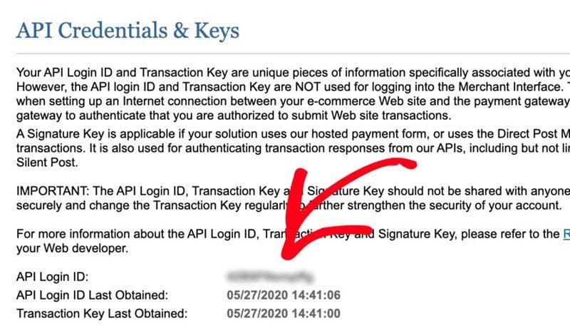 API Credentials and Keys copy API Login ID