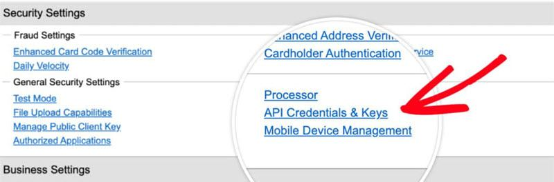 Authorize Net Security Settings API Credentials and Keys