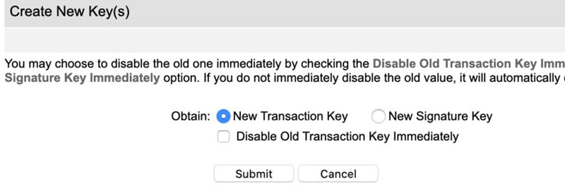 Authorize Net account API Credentials and Keys page Create New Key New Transaction Key