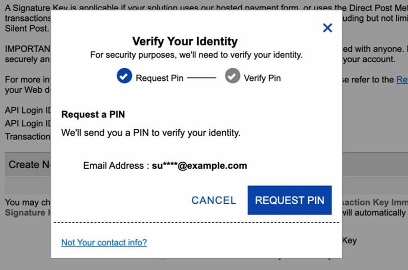 Authorize Net verify your identity Request PIN