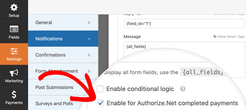 Authroize.Net settings Enable for authorize.net completed payments