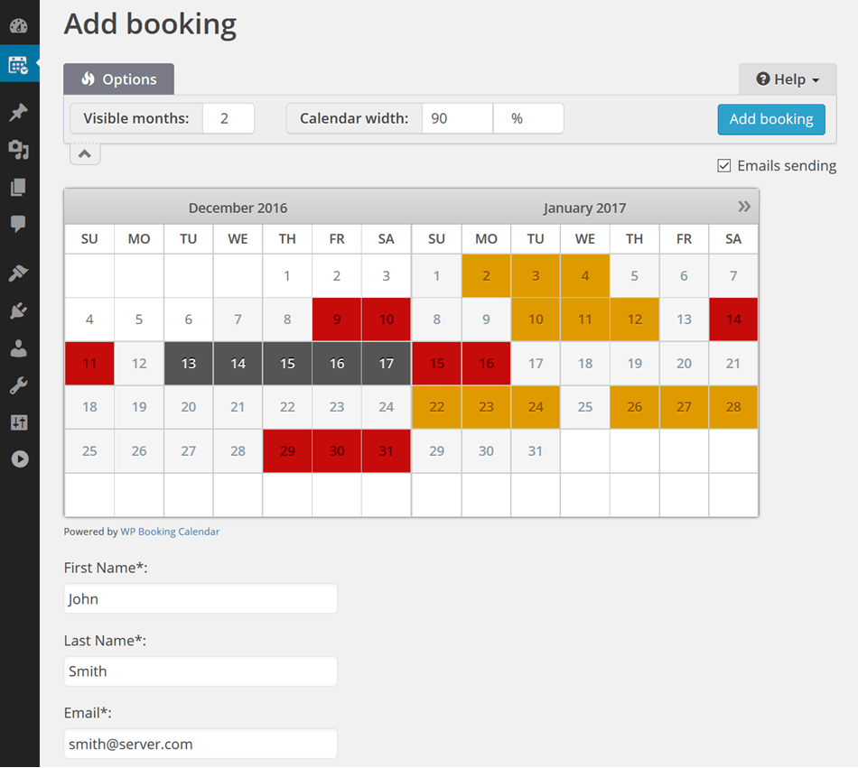 Booking calendar wordpress add bookings