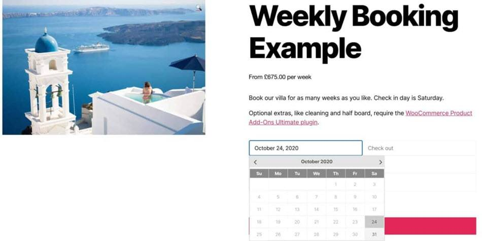 Booking for woocommerce weekly booking calendar example