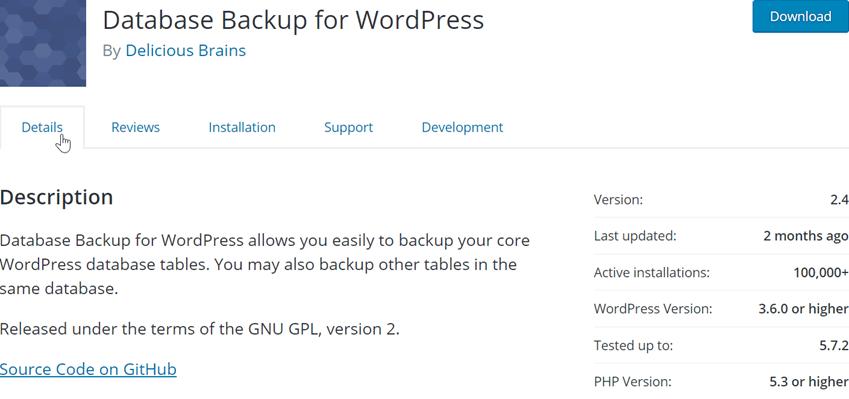 Database Backup for WordPress