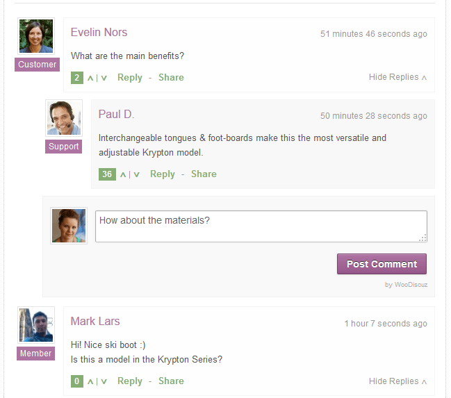 Discussion Threads With Reply Form Screenshot
