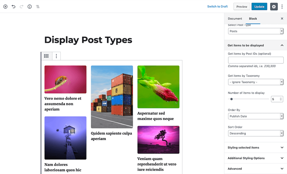 Display post types post grids post lists and post sliders