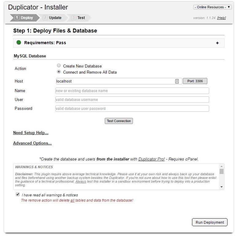 Duplicator wordpress migration plugin installer deploy files and database