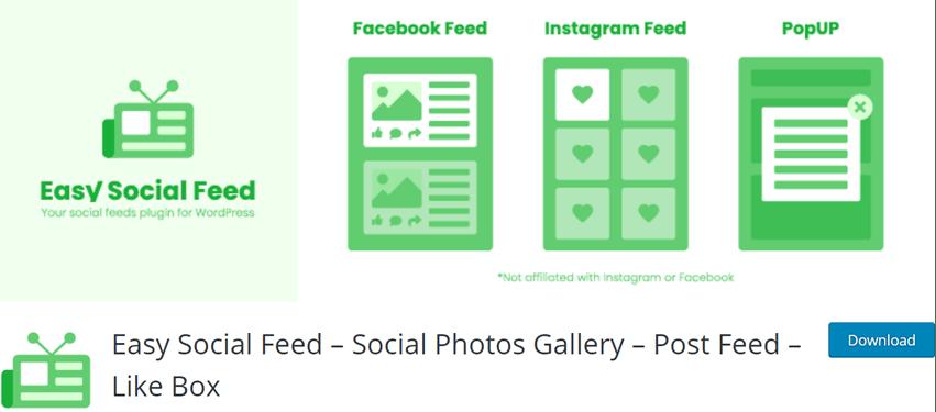Easy Social Feed – Social Photos Gallery – Post Feed – Like Box