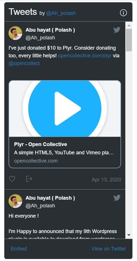 Easy Twitter Feed embed view on twitter sidebar menu
