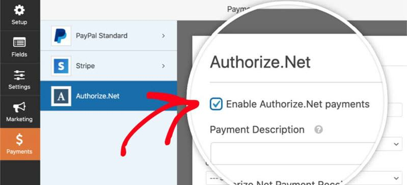 Enable Authorize.Net in the payments form