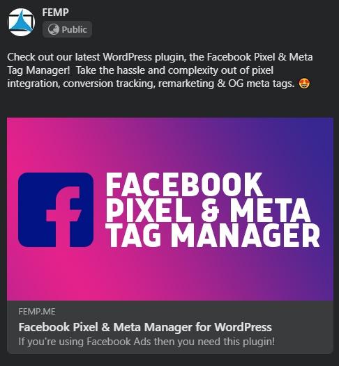 Facebook pixel meta tag manager for WordPress