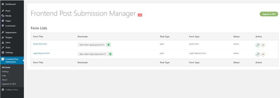 Frontend post submission manager lite forms lists