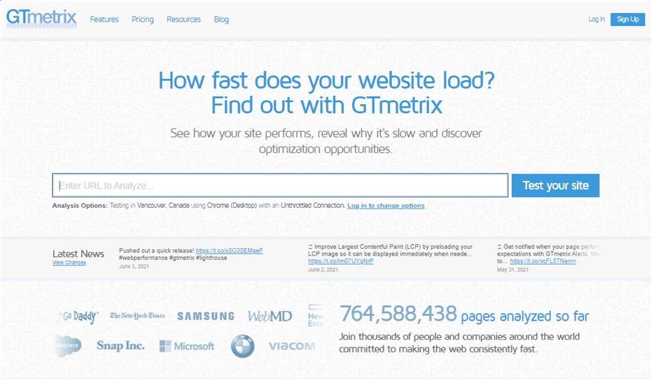 GTmetrix website performance testing and monitoring