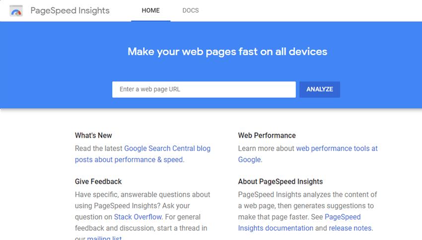 Google PageSpeed Insights sitespeed test tool