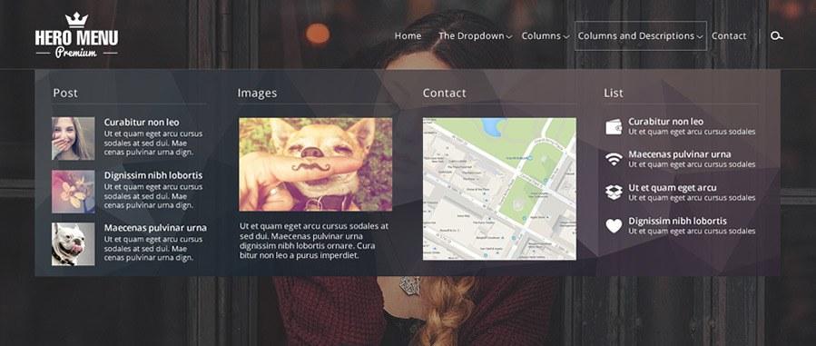 Hero Menu responsive WordPress mega menu plugin by heroplugins demo