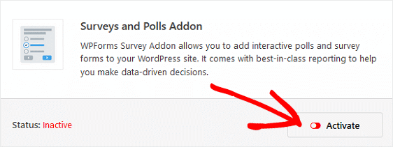 Install and activate surveys and polls addon