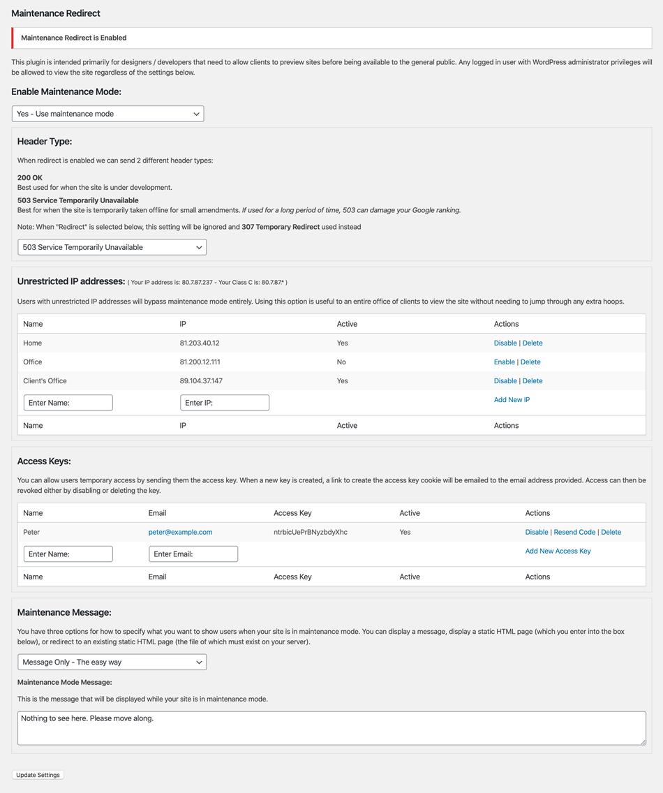 JF3 maintenance redirects plugin settings