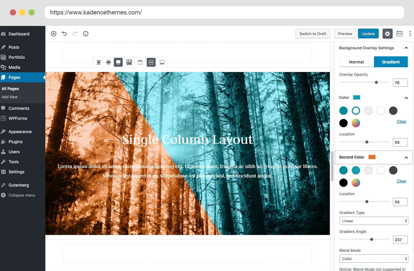 Kadence blocks Gutenberg blpck plugin page builder features single column row l;ayout with gradient background overlay