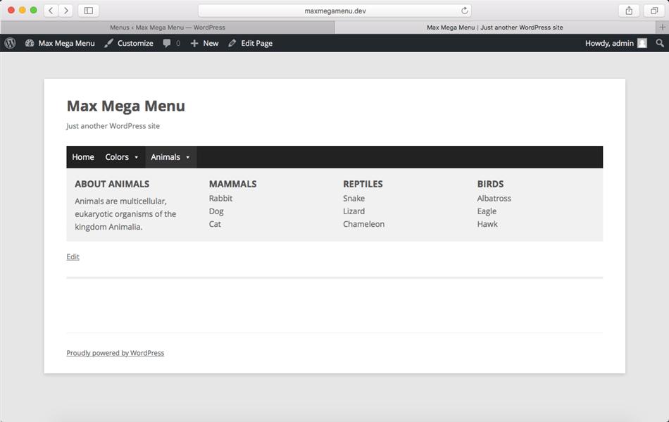 Max Mega Menu WordPress plugin front end