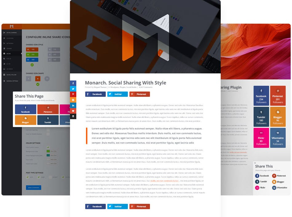 Monarch social counter plugin by elegant themes