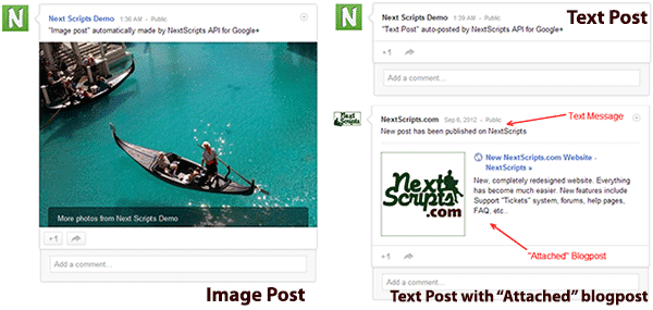 NextScripts social network auto posters google and types of posts