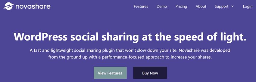 Novashare WordPress social sharing at the speed of light