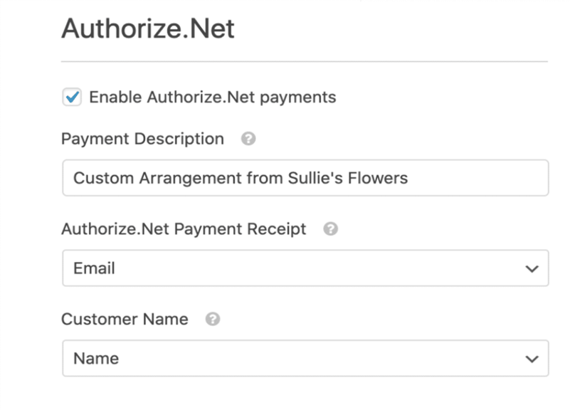 Payment Settings for Authorize.net