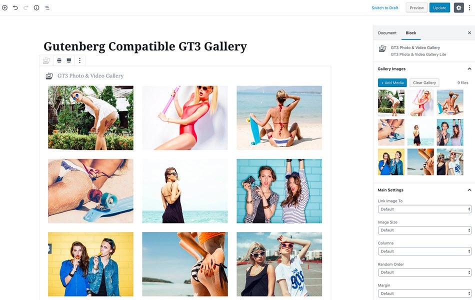 Photo gallery by GT3 video gallery and gutenberg block gallery plugin settings