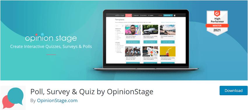 Poll Survey & Quiz by OpinionStage Plugin
