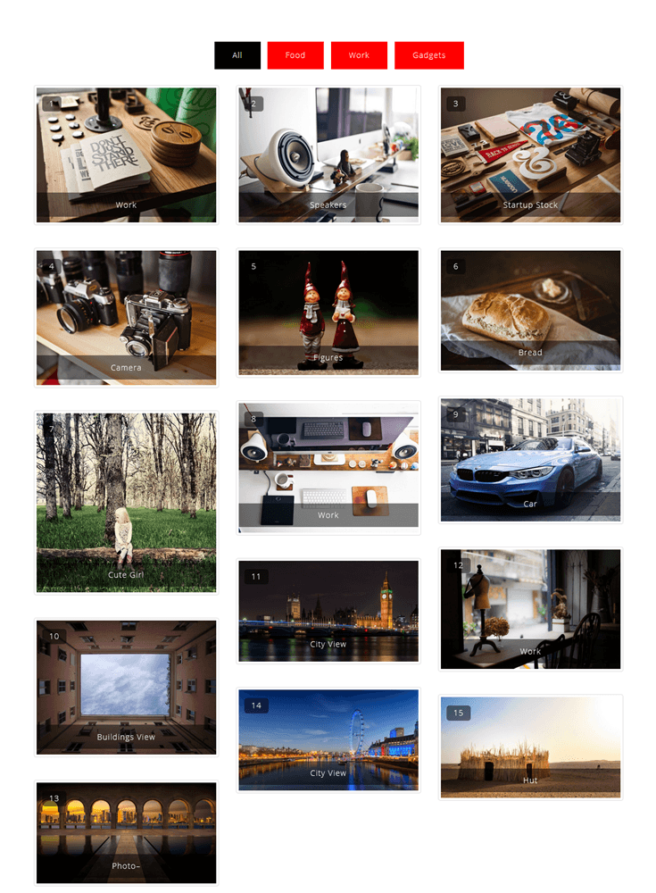 Portfolio filter gallery image gallery plugin 3 column gallery with a number and a title